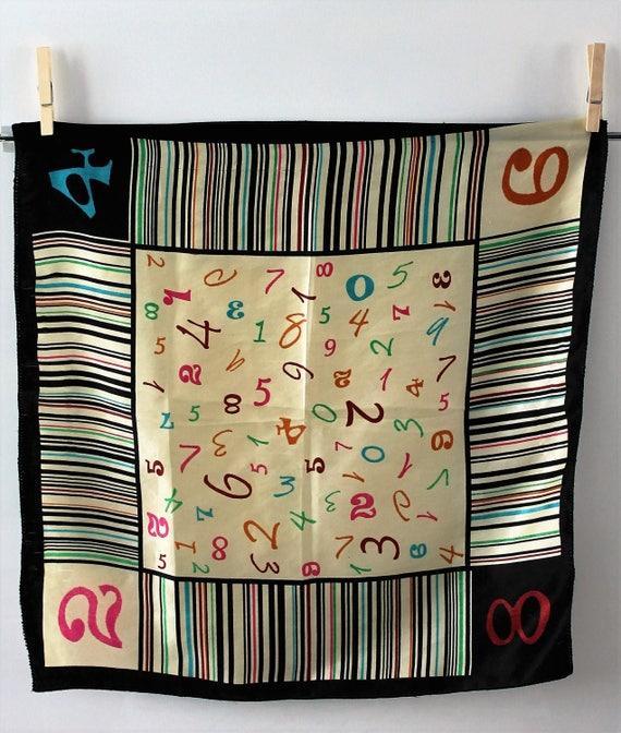Foulard Vintage français années 60/70 aspect soie 50x50cm - accessoire vintage - tenue vintage - vêtement vintage - Cadeau pour elle