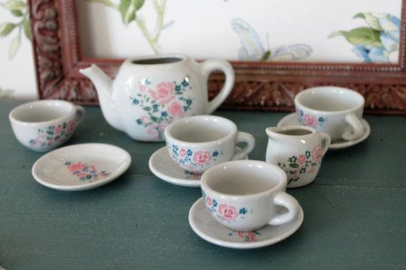 Miniature tea set - miniature dishes - 4 Cups 4 cups and teapot & Pitcher - MIN160