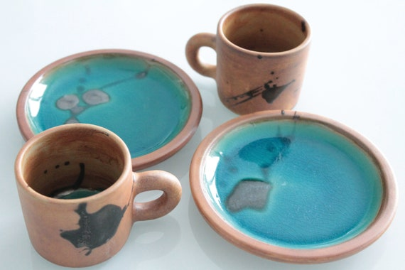 Coffee service in enamelled stoneware, pottery of the dove, vintage French pottery, SCAF181359