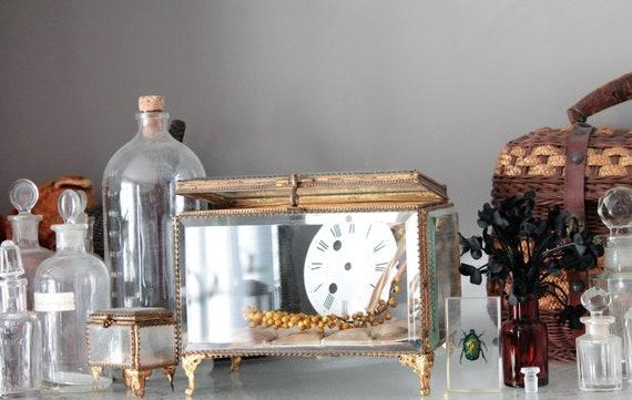 French antique bridal jewellery box, Antique gold brass wedding box, golden box, antique glass box, jewelry box, wedding globe