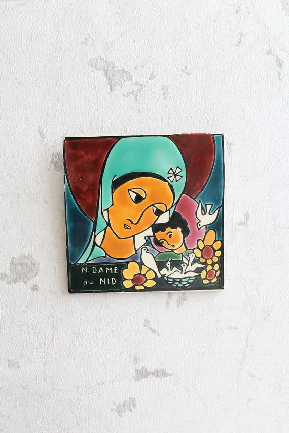 Décor religieux, Carreau de céramique à suspendre - La vierge et l'enfant - Notre dame du Nid WISQUES , RLG160637