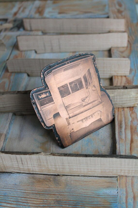 Copper printing plate, car printing plate, copper car, Artprinting, antique printing