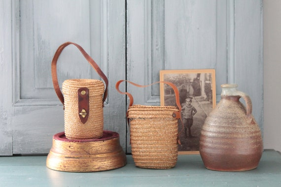 2 glasses for curists, old baskets Wicker x 2, curiosities, hiking kit, picnic, rare item, glass curist glass