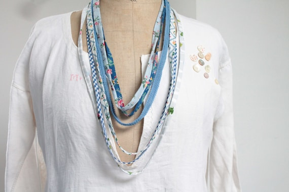 Necklace in vintage floral fabric and boho style ribbon, blue and white, unique French creation,