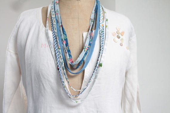 Necklace boho style, blue and white color, French creation, Ribbon and floral vintage fabric