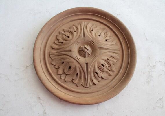 Rosace ancienne en bois massif naturel, ornement ancien en bois, fourniture pour ébénisterie, décor de meuble, décor de porte, BOIS181345 2