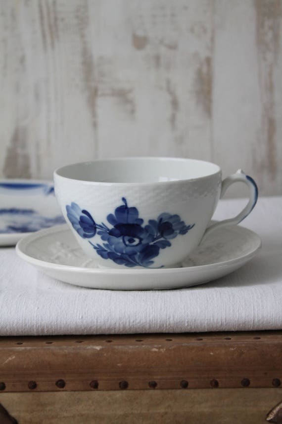 ON SALE Wedgwood and Royal Copenhague tea set / White and blue tea set /