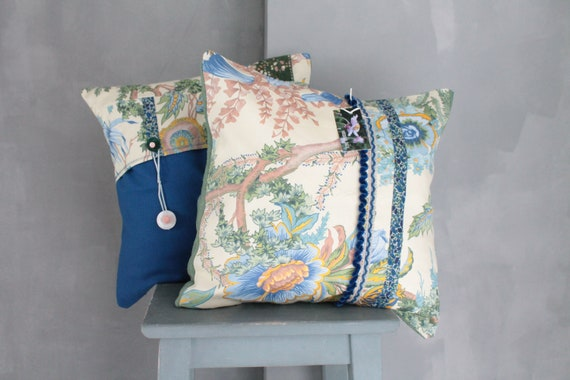2 cushions in a floral, URGE fabric made in France, gift for her, blue and green cushion COUS150188