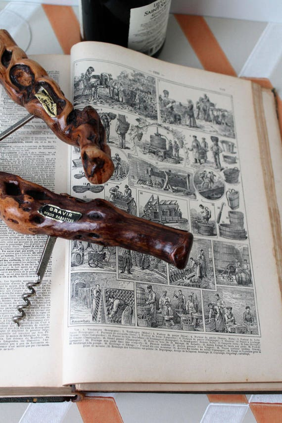 2 french vintage corkscrew made of vine wood typical of the regions of southern France, gift for him - eonologie - VIN160777