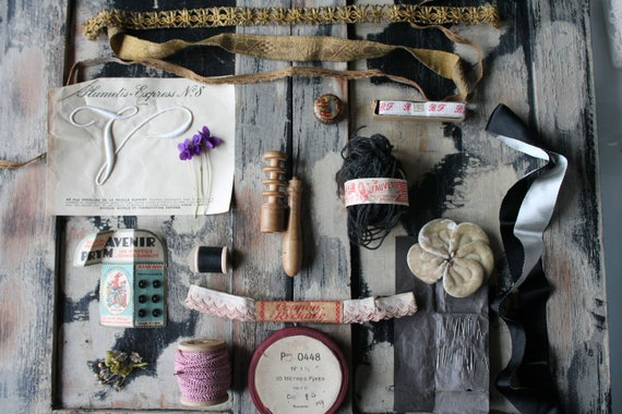 Old sewing necessities,bias, embroidered stripe,Monogram Plumetis, needles,old flower,Galon golden thread,wool to remail