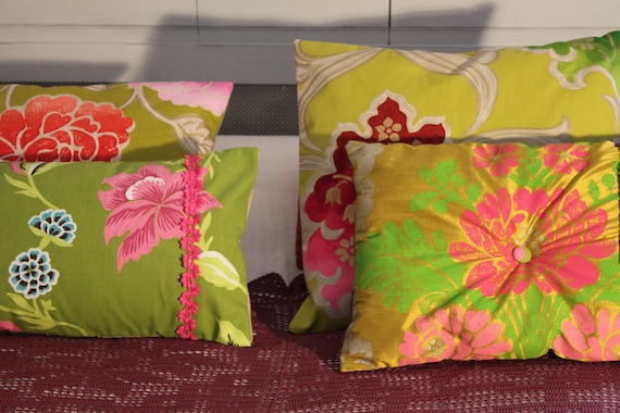 4 hand made cushions with upholstery fabric.