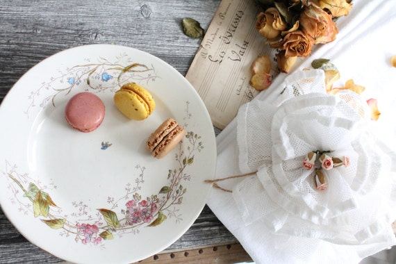 8 Antique French Dessert plates, in Ironstone, from Choisy le Roi - flowered plates - wedding gift - tableware wedding -