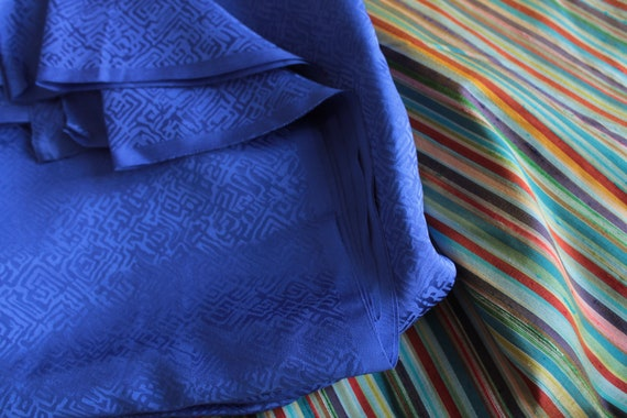 Silk, vintage high-manufactured silk, luxury vintage fabric, Blue silk, high quality silk