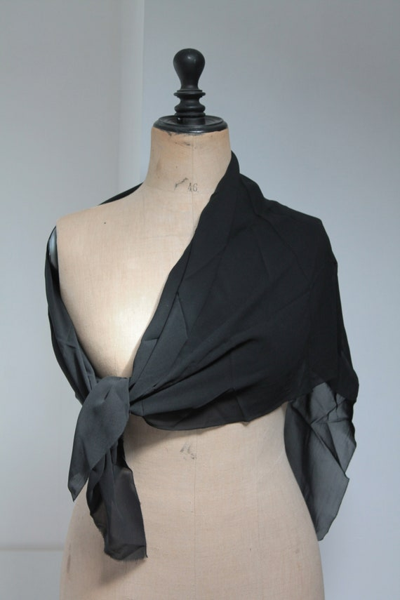 Black vintage French mantilla, antique black scarf, edwardian, early twentieth, silk crepe scarf, black veil