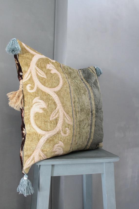 "Large 22X22"" Square Cushion,Upholstery, Boho Chic Pillow,"