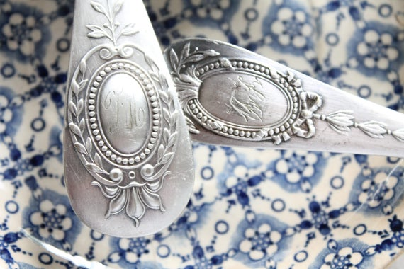 French antique spoon, monogrammed silver plated, old cutlery, antique crockery, food photography,
