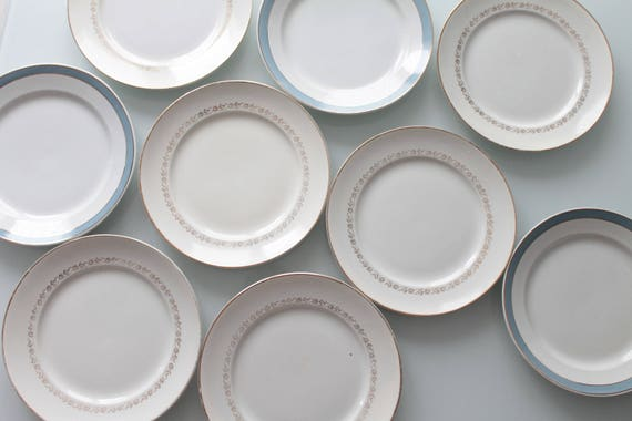 9 vintage plates of table, French, porcelain, tableware, dishes French vintage, Lunéville, Moulin des Loups, AST160385