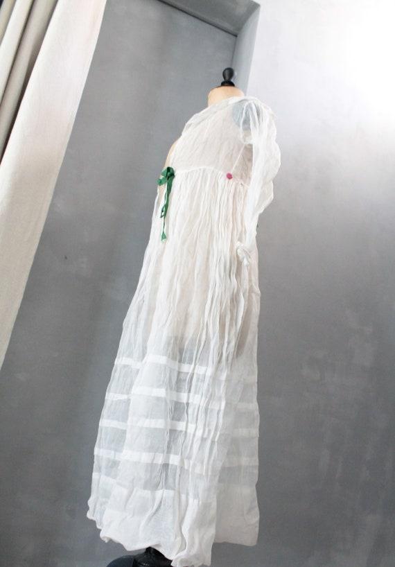 Old dress top,Linen Baptist, white veil dress, wed