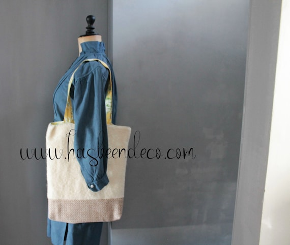 Jouy canvas and wool reversible bag, gift for her, shoulder bag, yellow and green reversible bag,SAC171097
