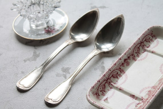 2 antique spoons in silver plated France, cutlery in silver plated, COUV181591
