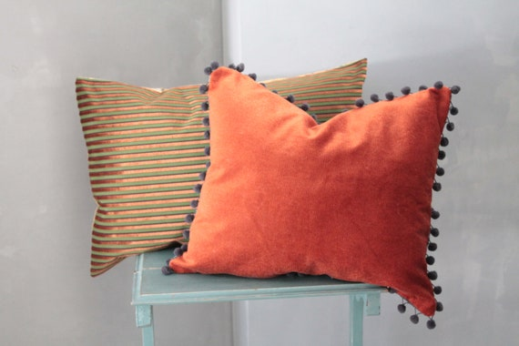 Large Velvet Upholstery Cushion, Burgundy and Yellow Pillow, Bohemian Chic Orange Cushion, Unique Pillow, Unique Gifts, 191875