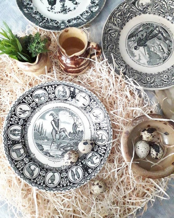Rare French old plate, dessert plate, plate for photography, tableware, talking plate