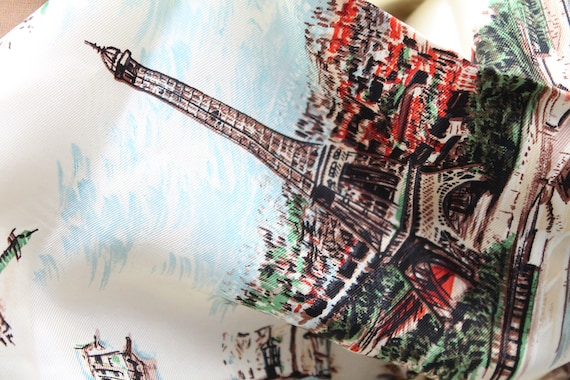 Vintage silk scarf, Square silk Paris, vintage fashion accessory, Monuments of Paris, Gift for her,