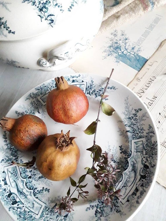 Antique french pedestal dish from the faiencerie of Luneville France, Fruit dish, Transferware