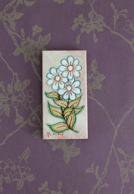 Carreau de céramique vintage, Signé Paul BAY Sant Vicens, carreau de crédence, décor de crédence de cuisine, céramique fleurs, PLQ150042