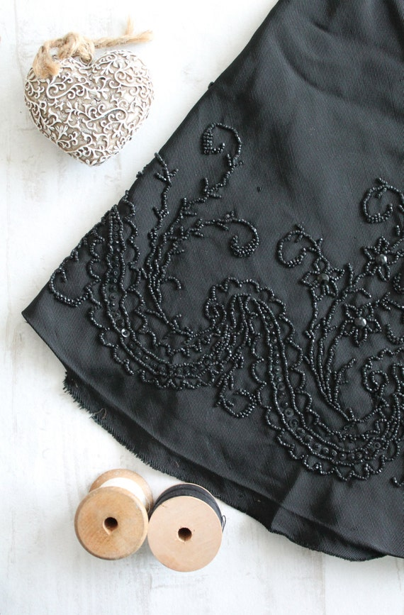 Ancient fabric embroidered with jeais beads, supply customization of garment, ruffle of old black dress, black vintage cape