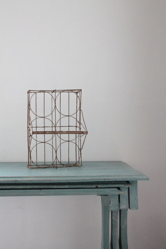 Antique glass basket, old farm basket, shabby chic basket, farm decor, country decoration, metal basket, basket for cacti,