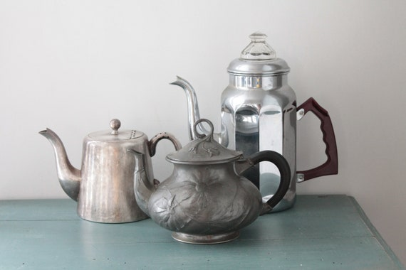 Large French Old Coffee Pot in Chrome Metal, Coffee Pot, Vintage Coffee Maker, Vintage Kitchen, THE181570