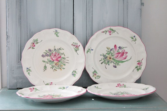 French table service, 8 Plates LUNEVILLE, plate with flowers, French crockery, AST191848