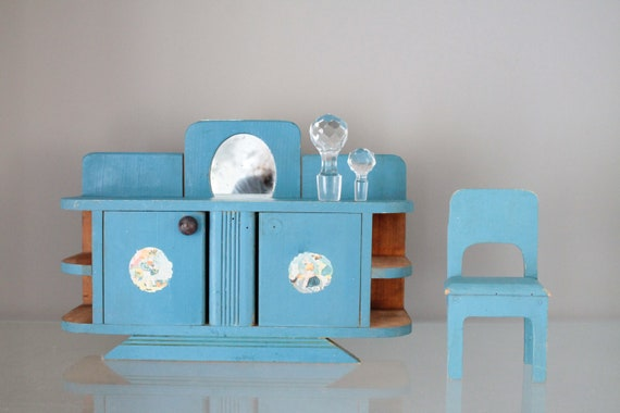 Doll house buffet with matching chair, miniature furniture, doll cabinet, doll house furniture, POUP181418