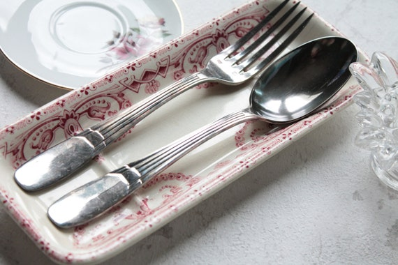 Cutlery in silver, Antique silver plated with 2 pieces from France
