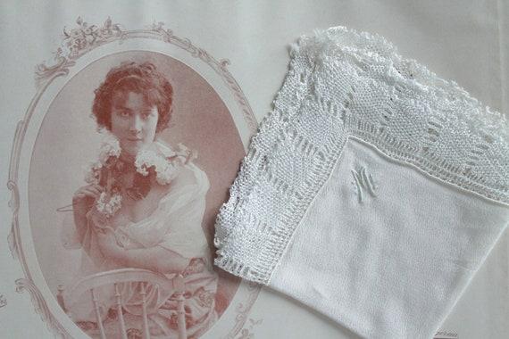 Handkerchief embroidered old Monogram M silk pouch, linen, vintage white hankie wedding clutch, wedding gift, MOUCH171287