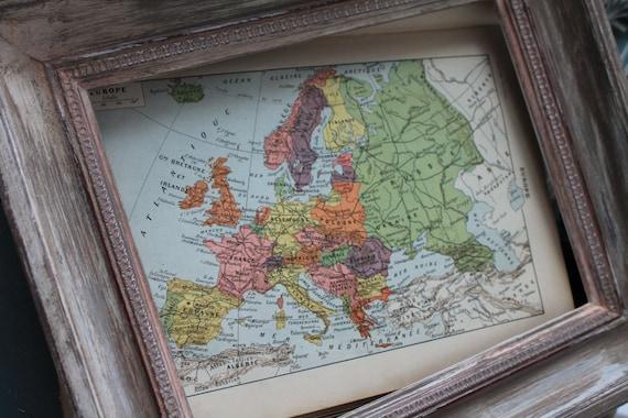 """Illustration """"L'Europe"""" Carte géographique - Page d'un dictionnaire français Larousse ancien 1925 - Page Larousse 20X29cm / Affiche ancienne"""