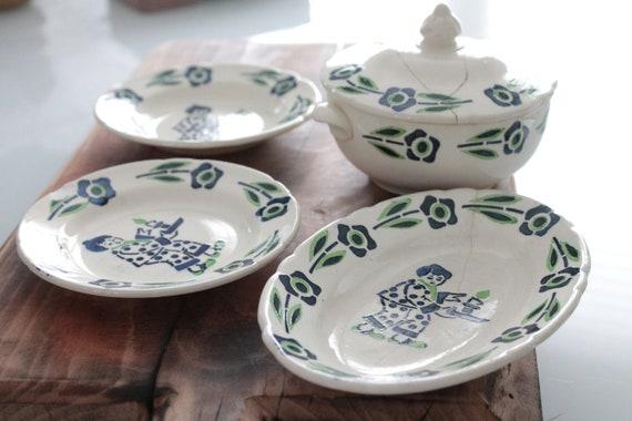 Rare old Dinette set of 4 transferware ironstone decor stencil, flat pattern of Japanese style from the early 20th century, MIN181428 influence