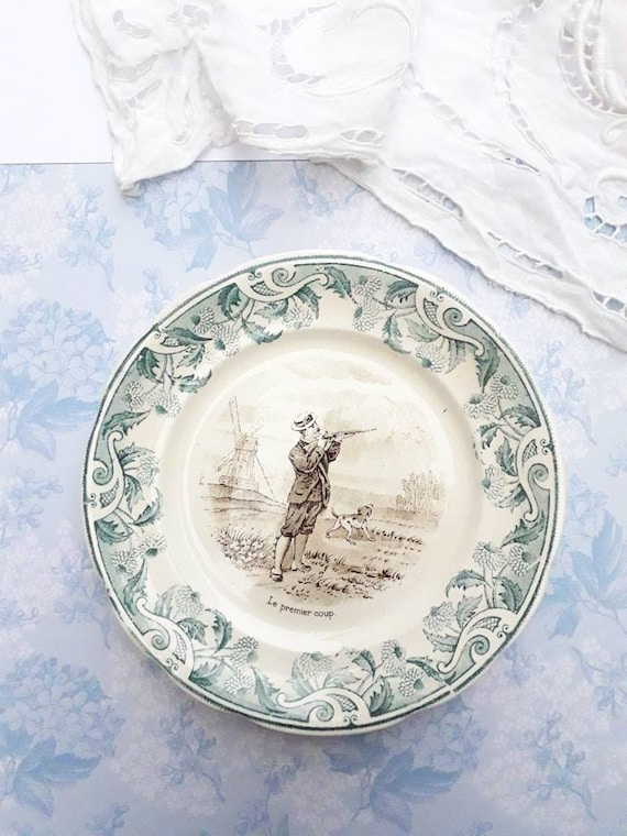 Old French plate, opaque porcelain, collection plate, iron earth, transfer plate, plate of sarreguemines,