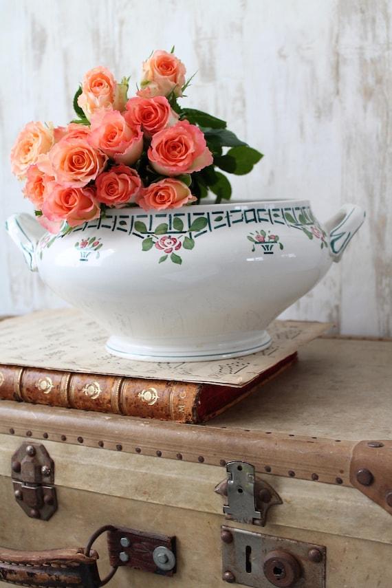 Shabby french antique tureen,green and raspberry tureen,dinnerware, transferware