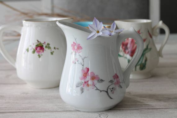 French shabby vintage pitchers, handpainted pitcher, shabby chic decor, farmhouse style, vintage dinnerware, pink and white
