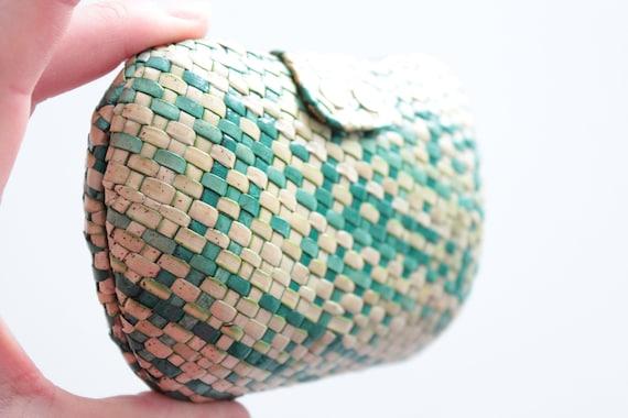 Etui à lunettes, à maquillage, vintage, en osier tressé, beige et vert, à bouton pression, porte monnaie, SAC171318