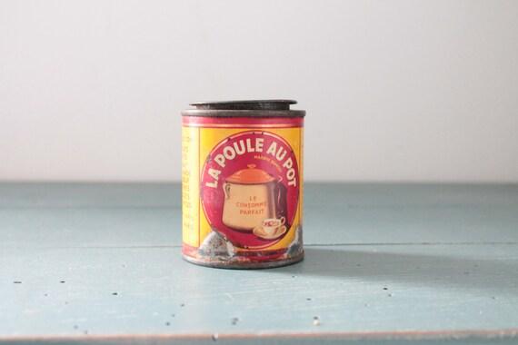 "Old metal box ""La Poule au Pot"", old box for photography, old collection box, rare boxes, BOIT181602"