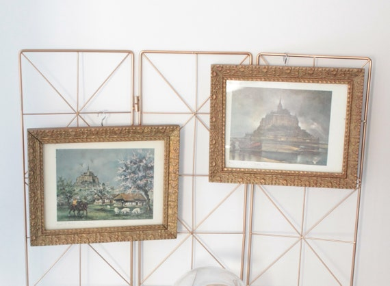 2 vintage reproductions in antique frames with floral pattern, Mont Saint Michel, wall frames, CDR181559
