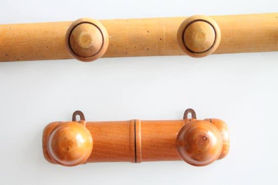 Porte Manteau Vintage des années 30, en bois verni, modèle Faux Bambou, 2 ou 6 positions, entrée bois vintage, PM171134 135