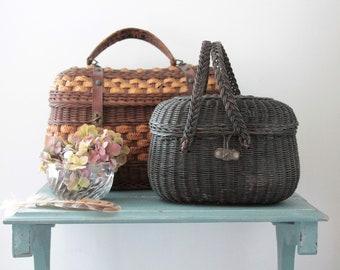 Antique French Wicker Basket, Rare Item, Wicker Handbag, Antique Wicker Bag, French Basketry, VAN181545
