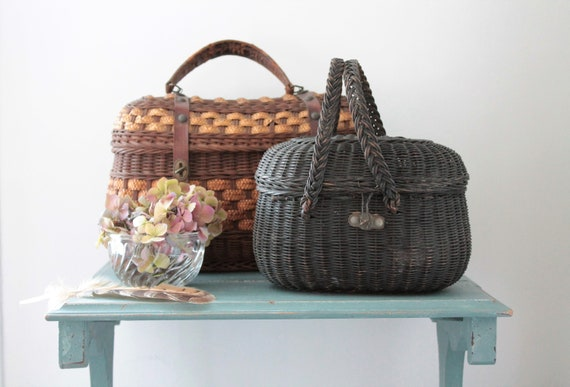 Antique French Wicker Basket, Rare Item, Wicker Handbag, Antique Wicker Bag, French Basketry, VAN181545