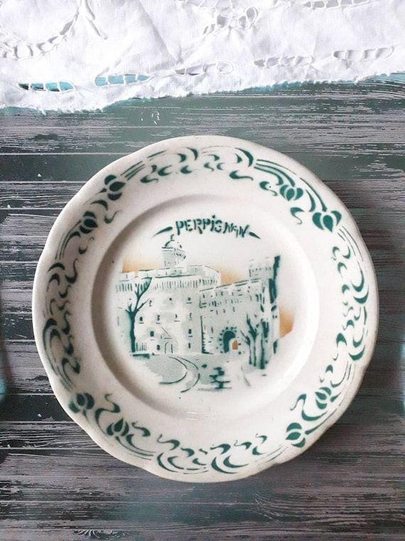 Old French plate, Perpignan plate, Perpignan souvenir, opaque porcelain, antique dish, collection plate,