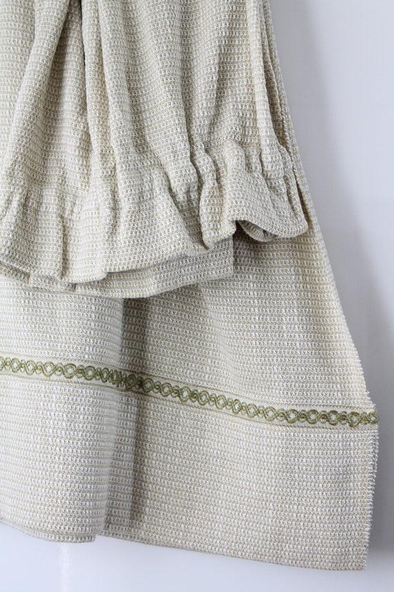 Rideau vintage en tissu d'ameublement, habillage de fenêtre, beige et vert, RID170992