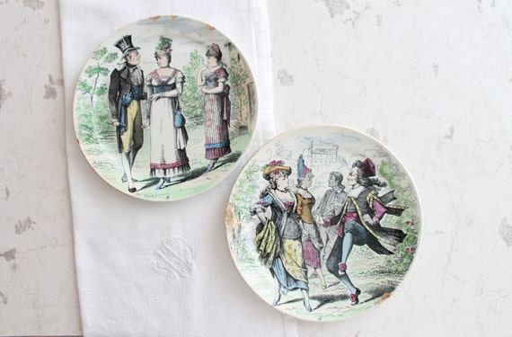 2 antique ceramic decorative plates, from L.M. & Cie CREIL Et Montereau, France